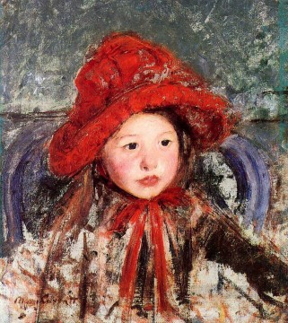 Impressionism Painting - Little Girl in a Large Red Hat impressionism mothers children Mary Cassatt