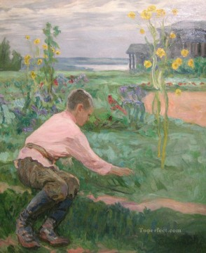 boy on a grass Nikolay Bogdanov Belsky kids child impressionism Oil Paintings