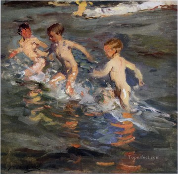 Impressionism Painting - children at the 1899 beach Child impressionism