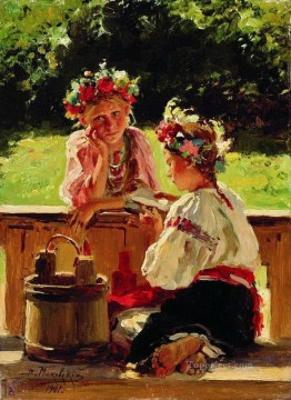 girls lightened by sun 1901 Vladimir Makovsky kid child Oil Paintings