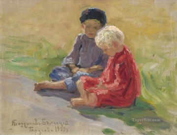 playing children Nikolay Bogdanov Belsky kids child impressionism Oil Paintings
