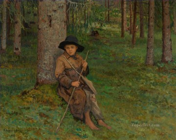 BOY IN A FOREST Nikolay Bogdanov Belsky kids child impressionism Oil Paintings