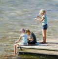 Fishing Buddies beach Child impressionism