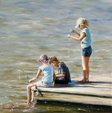Fishing Buddies beach Child impressionism Oil Paintings
