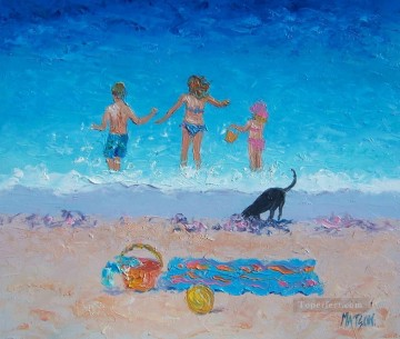 Impressionism Painting - Fun in the Sun beach Child impressionism