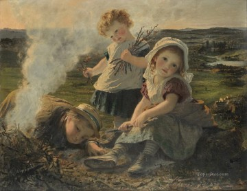 The Bonfire Sophie Gengembre Anderson children Oil Paintings