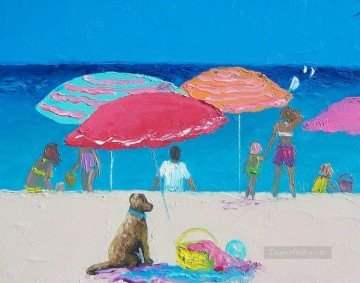 Impressionism Painting - dog on beach Child impressionism