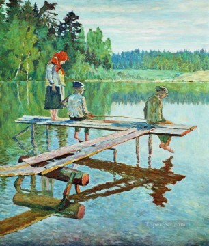 evening angler Nikolay Bogdanov Belsky kids child impressionism Oil Paintings