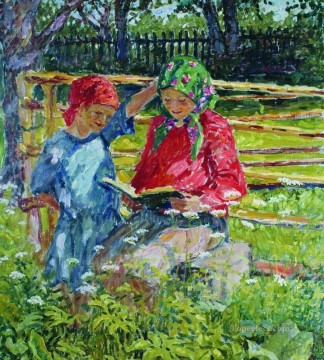 girls in kerchiefs Nikolay Bogdanov Belsky kids child impressionism Oil Paintings