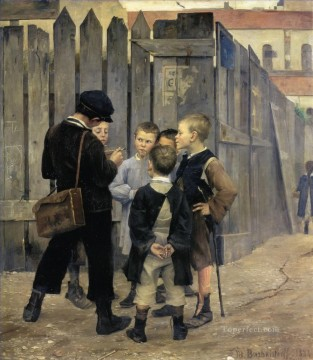 marie bashkirtseff the meeting 1884 kid child Oil Paintings