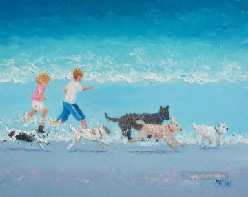 dogs playing poker Painting - on Dogs Day Out beach Child impressionism