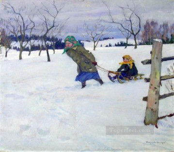 on a visit to the grandmother Nikolay Bogdanov Belsky kids child impressionism Oil Paintings