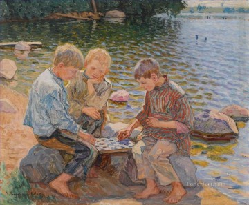 CHESS PLAYERS Nikolay Bogdanov Belsky kids child impressionism Oil Paintings