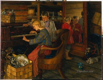 CHILDREN BY THE PIANO Nikolay Bogdanov Belsky kids child impressionism Oil Paintings