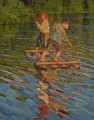 CHILDREN ON A RAFT Nikolay Bogdanov Belsky kids child impressionism