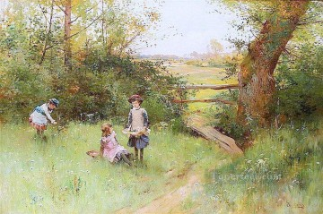 Gathering May Flowers Alfred Glendening JR child kids kids child impressionism Oil Paintings