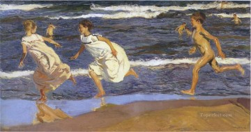 Joaquin Sorolla running kids beach seaside impressionism Oil Paintings