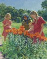 PICKING FLOWERS Nikolay Bogdanov Belsky kids child impressionism