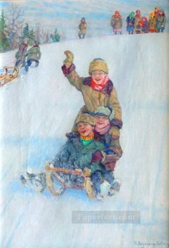Skating from Mountain Nikolay Bogdanov Belsky kids child impressionism Oil Paintings