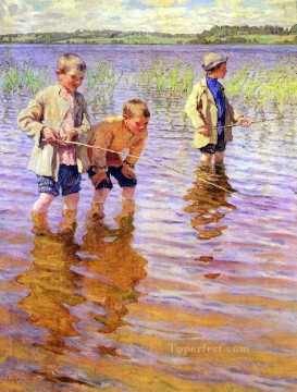 an afternoon fishing Nikolay Bogdanov Belsky kids child impressionism Oil Paintings