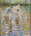 boys catching fish Nikolay Bogdanov Belsky kids child impressionism