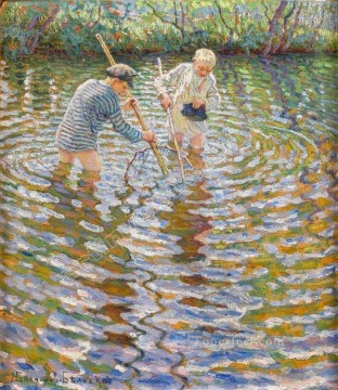 cat cats Painting - boys catching fish Nikolay Bogdanov Belsky kids child impressionism