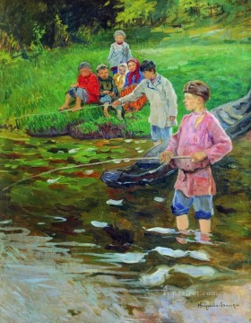 children fishermen Nikolay Bogdanov Belsky kids child impressionism Oil Paintings
