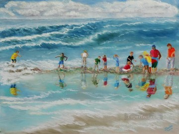 field trip to the james geddes beach Child impressionism Oil Paintings