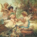 floral angels and guitar Hans Zatzka kid child