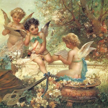 floral angels and guitar Hans Zatzka kid child Oil Paintings
