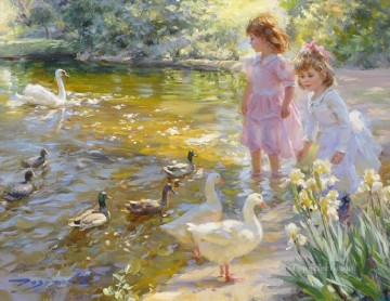 little girls and ducks geese kid child Oil Paintings