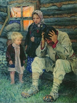 misery Nikolay Bogdanov Belsky kids child impressionism Oil Paintings