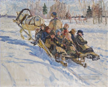 to school Nikolay Bogdanov Belsky kids child impressionism Oil Paintings