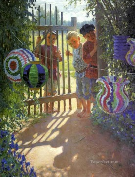 visitors Nikolay Bogdanov Belsky kids child impressionism Oil Paintings