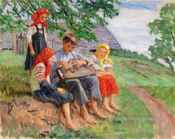young musicians 2 Nikolay Bogdanov Belsky kids child impressionism Oil Paintings