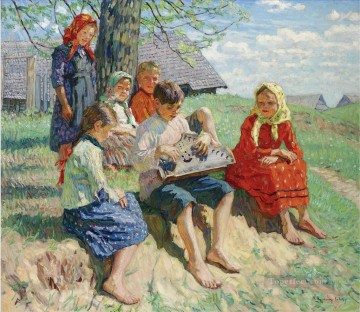 Spring Rehearsal Nikolay Belsky kid child Oil Paintings