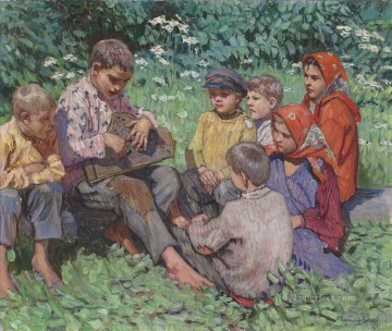The Zither player Nikolay Bogdanov Belsky kids child impressionism Oil Paintings