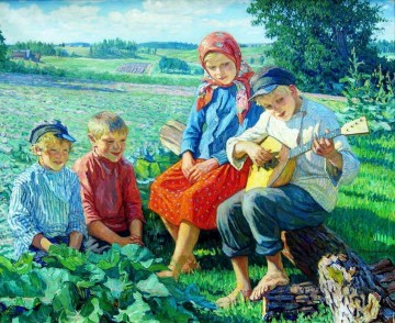 little concert with balalaika Nikolay Bogdanov Belsky kids child impressionism Oil Paintings