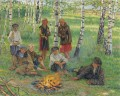 By the Campfire Nikolay Bogdanov Belsky kids child impressionism
