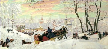arriving for shrovetide 1916 Boris Mikhailovich Kustodiev kids child impressionism Oil Paintings