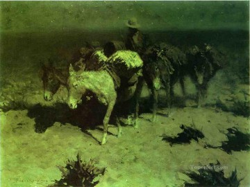 Remington Painting - A Pack Train Frederic Remington cowboy