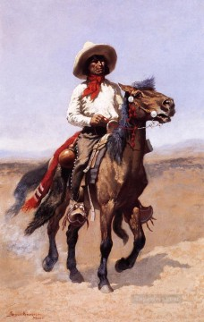 Remington Painting - A Regiment Scout Frederic Remington cowboy