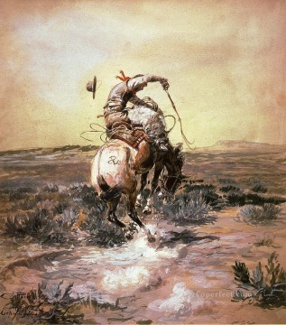 A Slick Rider cowboy Charles Marion Russell Indiana Oil Paintings