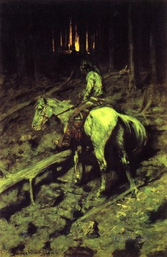 Indiana Cowboy Painting - Apache Fire Signal Indiana Frederic Remington