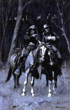 Remington Painting - Cheyenne Scouts Patrolling the Big Timber of the North Canadian Oklahoma Frederic Remington cowboy