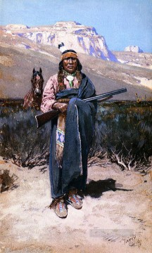 Indiana Cowboy Painting - Indian Brave west native Americans Henry Farny