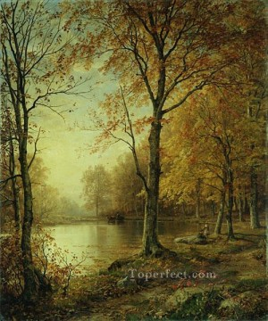 Indiana Cowboy Painting - Indian Summer scenery William Trost Richards