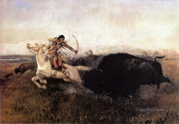 Indiana Cowboy Painting - Indians Hunting Buffalo Indians Charles Marion Russell Indiana