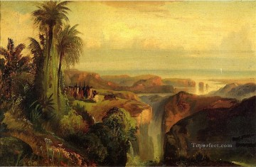 Indians on a Cliff landscape Rocky Mountains School Thomas Moran Oil Paintings