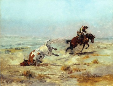 Lassoing a Steer cowboy Charles Marion Russell Indiana Oil Paintings
